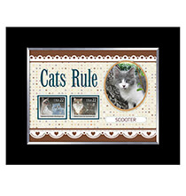 Pets - Cats Rule Personalized Pet Photo Frame with Stamps