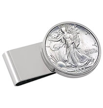 Wallets & Money Clips - Year To Remember Monogram Half Dollar Silvertone Money Clip