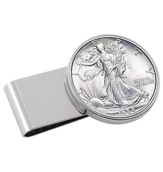 Year To Remember Monogram Half Dollar Silvertone Money Clip - View 1
