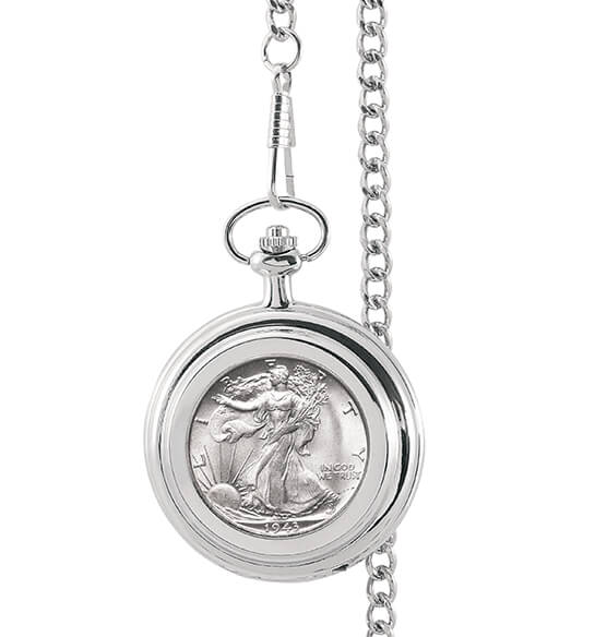 Year To Remember Monogrammed Half Dollar Coin Pocket Watch