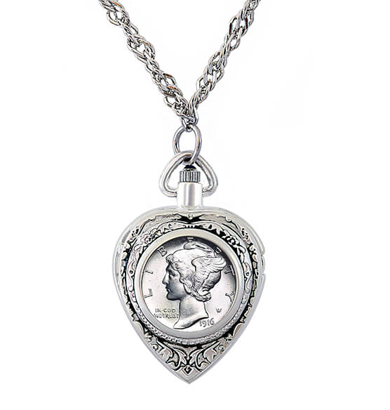 Year To Remember Coin Heart Watch Coin Pendant