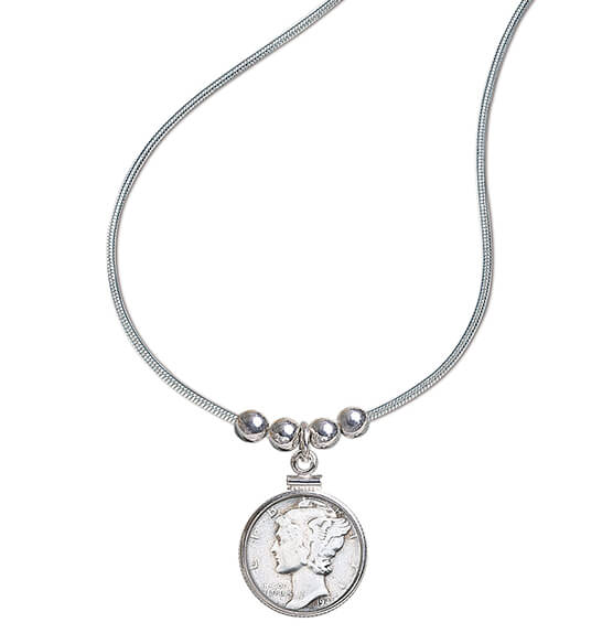 Year To Remember Coin and Sterling Silver Bead Coin Pendant - View 1
