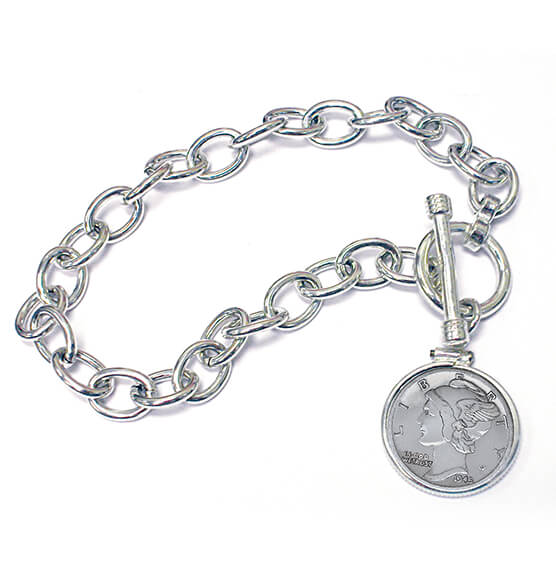 Year To Remember Sterling Silver Coin Toggle Coin Bracelet