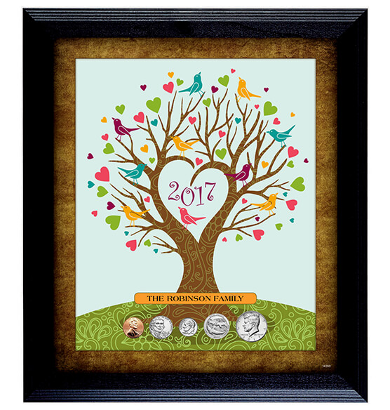 Personalized Family Tree Year To Remember Coin Frame