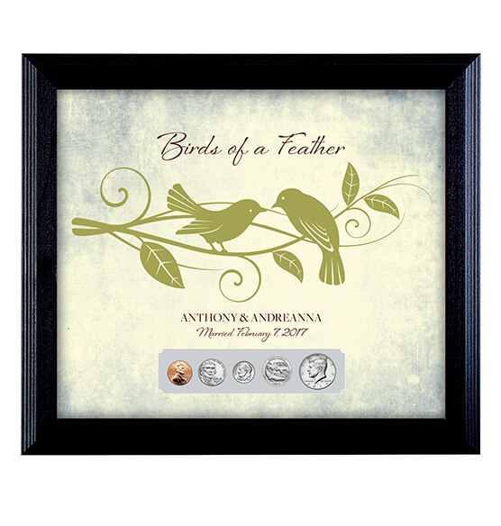 Personalized Birds of a Feather Year To Remember Coin Frame
