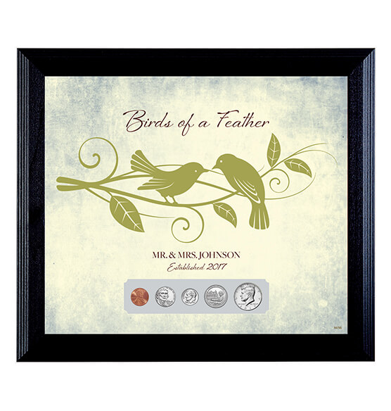 Mr. and Mrs. Birds of a Feather Year to Remember Wedding Frame