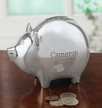 Religious Gifts - Personalized Silver Plated Piggy Bank