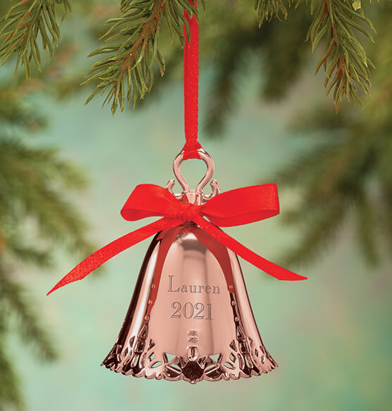 Personalized Rose Gold Tone Bell Ornament