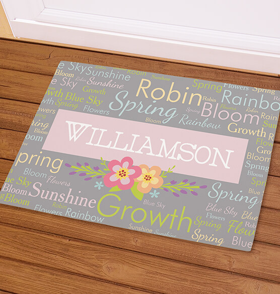 Personalized Spring Words Doormat - View 1