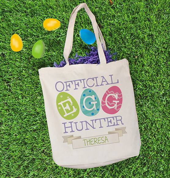 Personalized Egg Hunter Canvas Tote