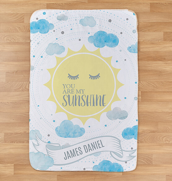 "Personalized You are My Sunshine Baby Sherpa Throw 30"" x 40"""