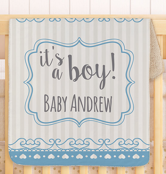 "Personalized It's a Boy! Baby Sherpa Throw, 30"" x 40"" - View 1"