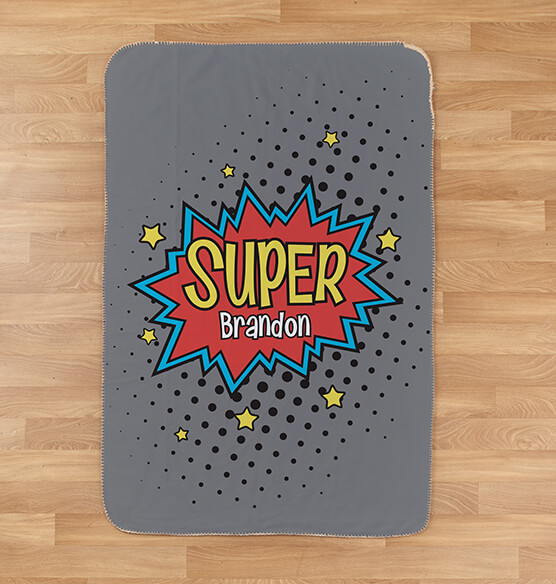 "Personalized Super Hero Sherpa Throw 37""x57"""