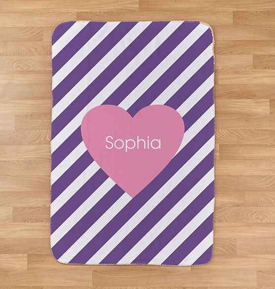 "Personalized Pink Heart Purple Striped Sherpa Throw 37""x57"""