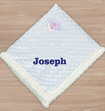 "New Baby Gifts - Personalized Blue Embroidered Baby Sherpa, 30"" x 40"""