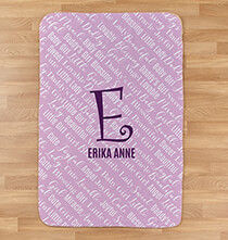 "New Baby Gifts - Personalized Purple Baby Name & Initial Sherpa Blanket, 30"" x 40"""