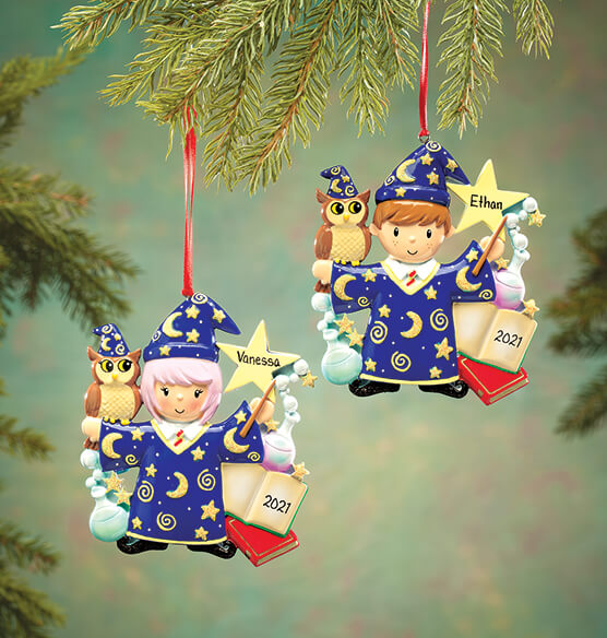 Personalized Wizard Ornament - View 1
