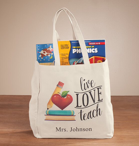 Personalized Live Love Teach Tote