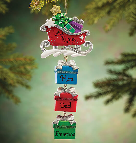 Personalized Sleigh and Gifts Dangle Ornament - View 1