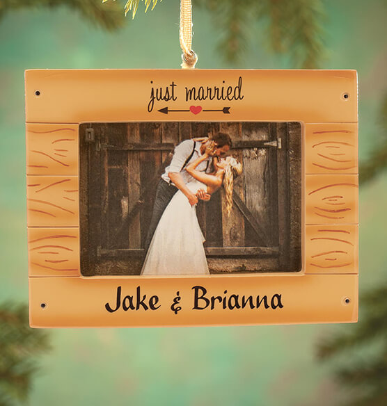 "Personalized ""Just Married"" Rustic Frame Ornament - View 1"