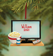 Personalized TV & Popcorn Ornament