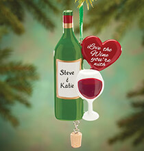 "Gifts for the Wine Lover - Personalized ""Love the Wine You're With"" Ornament"