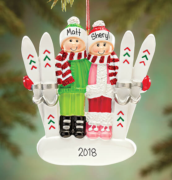 Personalized Skiing Couple Ornament - View 1