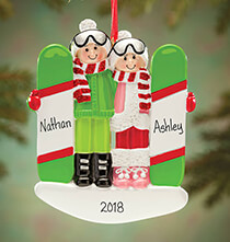 All Sports  - Personalized Snowboarding Couple Ornament