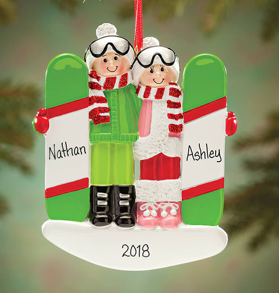 Personalized Snowboarding Couple Ornament - View 1