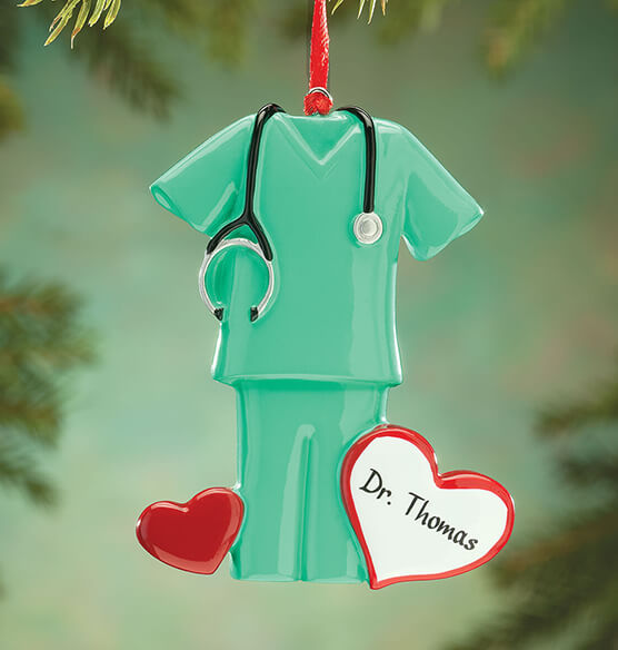 Personalized Green Scrubs Ornament - View 1