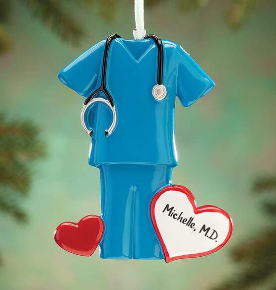 Personalized Blue Scrubs Ornament - View 1