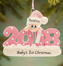 "New Baby Gifts - Personalized 2018 ""Baby's 1st Christmas"" Ornament"