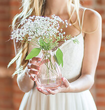 Personalized Clear or Blush Hand Blown Glass Vase