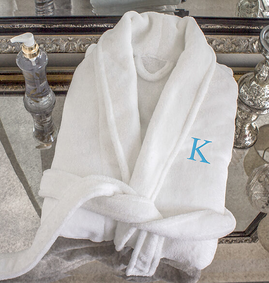 Personalized Shawl Collar White Plush Fleece Robe - View 1