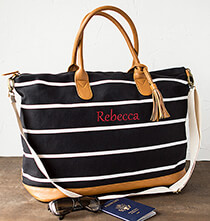 Top Gifts for Her - Personalized Striped Canvas Oversized Weekender Tote
