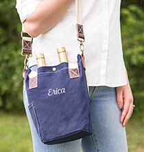 Gifts for the Wine Lover - Personalized Navy Wax Canvas Wine Tote with Pocket
