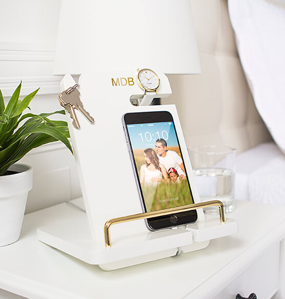 Personalized Gold Embossed White Lacquer Docking Station