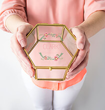 Personalized Floral Gold Glass Keepsake Box
