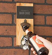 Personalized Slate & Acacia Wall Mount Bottle Opener