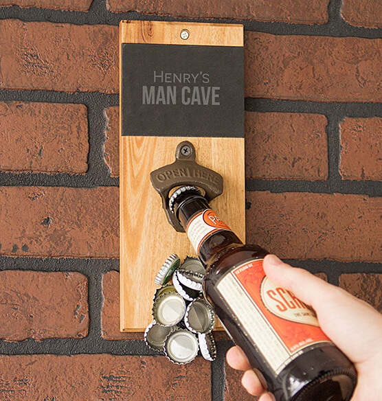 Personalized Acacia Slate Wall Mount Bottle Opener with Magnetic Cap Catcher
