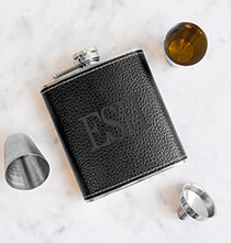 Father's Day - Personalized Leather Wrapped Flask Set