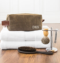 Accessories for Him - Personalized Men's Waxed Canvas and Leather Dopp Kit