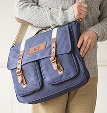 Personalized Men's Waxed Canvas and Leather Messenger Bag