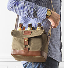 Baseball - Personalized Insulated Waxed Canvas 6 Pack Bottle Carrier
