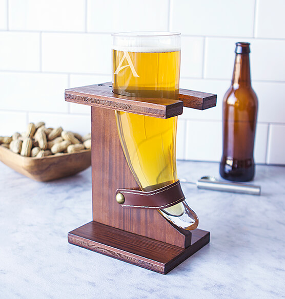 Personalized Glass Viking Beer Horn 16 oz. with Rustic Stand