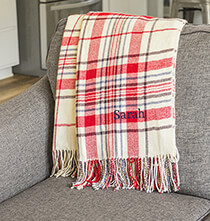 Graduation - Personalized Red Plaid Throw