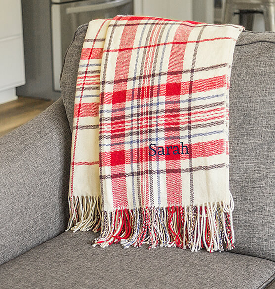 Personalized Red Plaid Throw