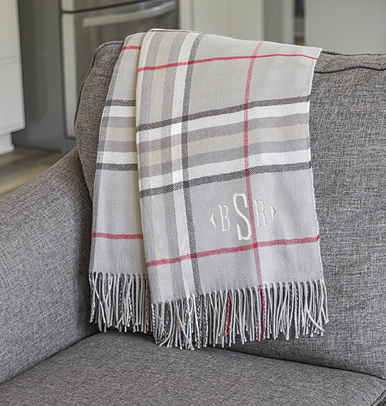 Personalized Grey Plaid Throw - View 1