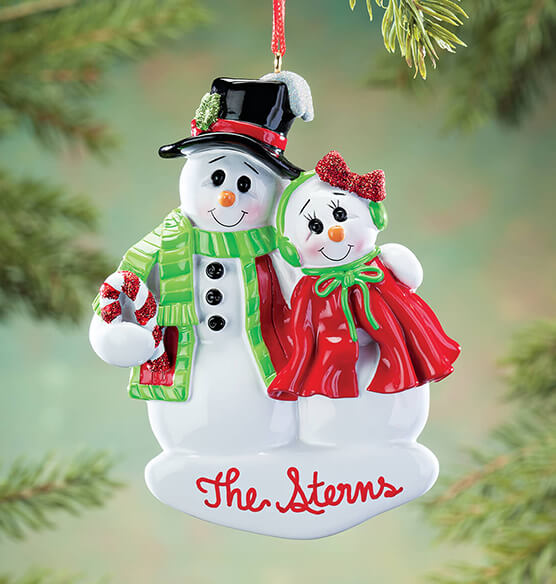 Personalized Snowcouple Ornament - View 1