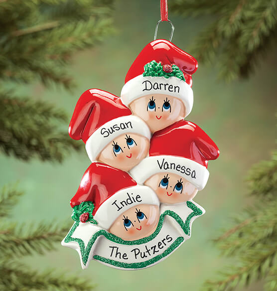 Personalized Family in Stocking Caps Ornament - View 1